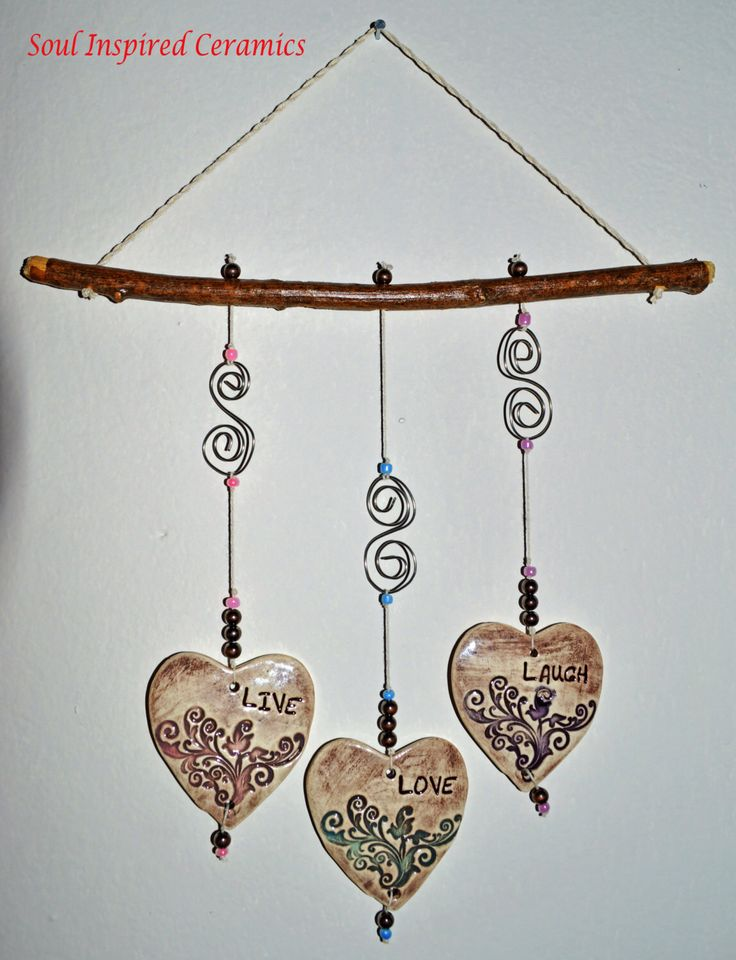 Ceramic Wind Chime, Ceramic Mobile, Live Laugh Love Wall Art, Ceramic Wall Decor by SoulInspiredCeramics on Etsy https://www.etsy.com/listing/211480395/ceramic-wind-chime-ceramic-mobile-live