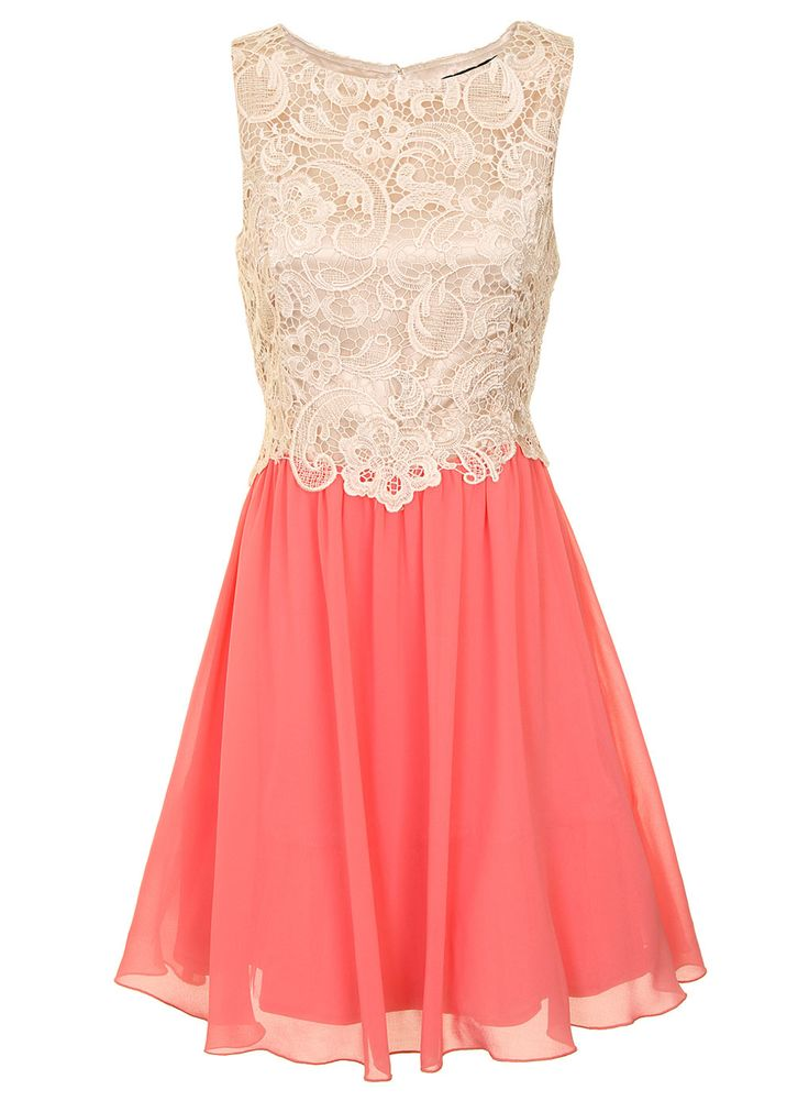 Cream and coral lace bridesmaid dress dressing to the 9s for Cream colored lace wedding dresses