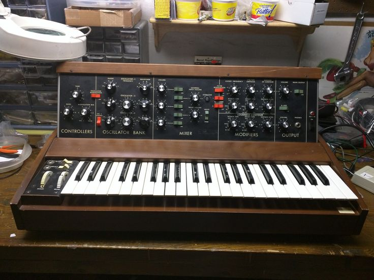 The Minimoog. A main axe of mine (though mostly retired now). A late production model, purchased in 1988 for $350.