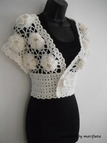 3 crochet shrug patterns for 10$ via Craftsy