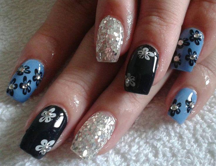blue-black-silver nails