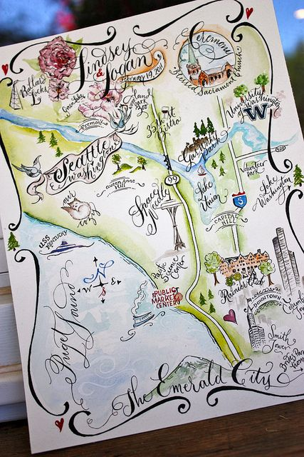 Seattle, WA Watercolored Wedding Map by Miss Danae, via Flickr