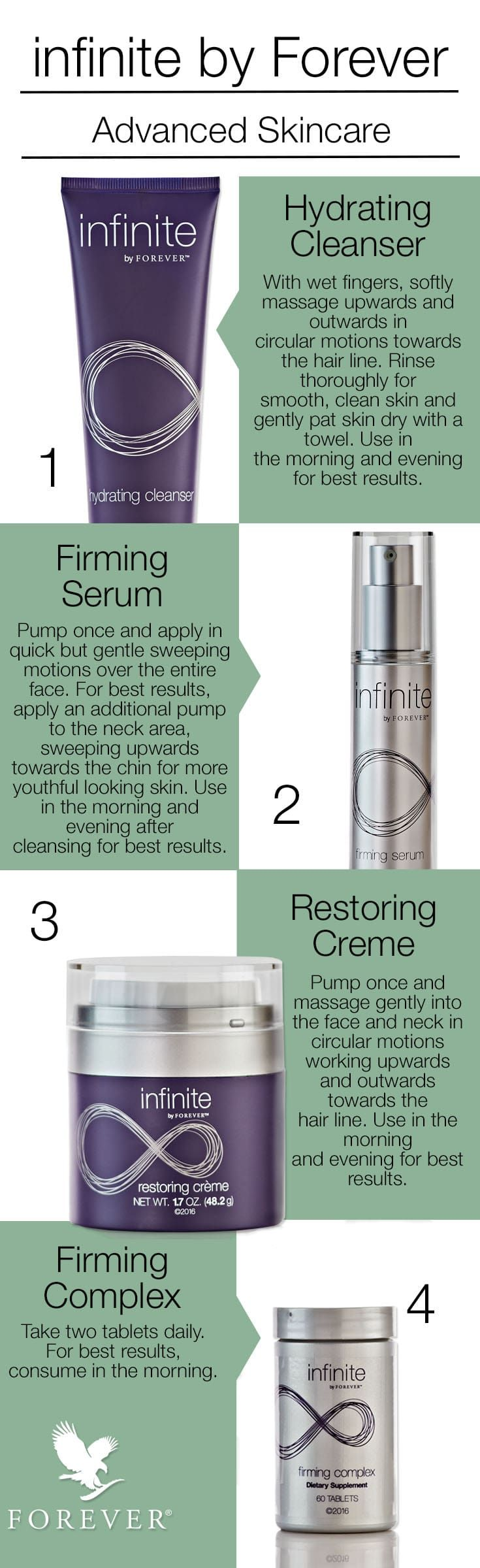 Infinite by Forever is a complete anti-aging skincare set for men and women. The set contains four products that work together perfectly: hydrating cleanser, firming serum, restoring crème and firming complex. This powerful skincare helps reduce the appea