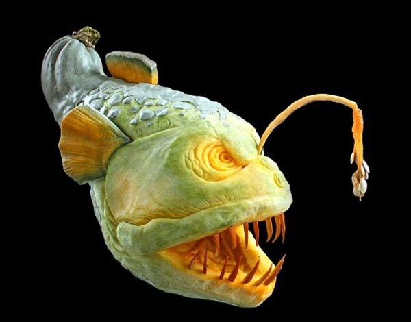 ausgedacht Halloween Kürbis schnitzen art fisch