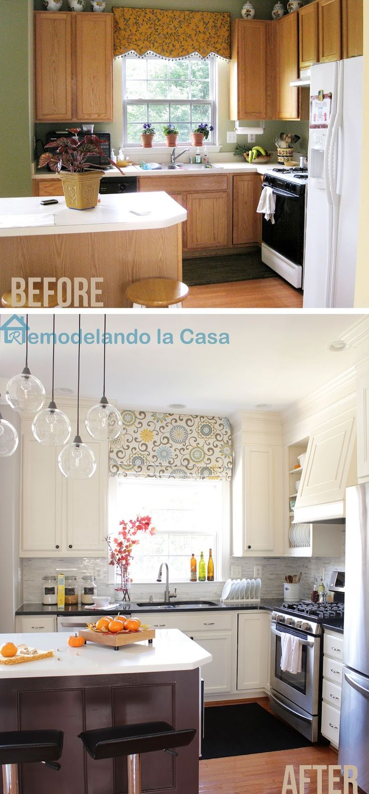 Kitchen Makeover on a budget. Painted cabinets, closed space above cabinets, diy range hood and fridge enclosure and more.