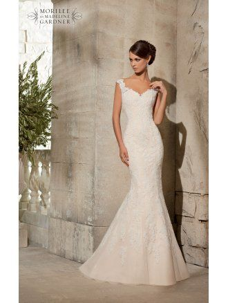 Mori Lee 5316 Ivory/Silver Lace Fishtail Wedding Dress size 12