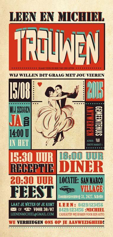 Huwelijk Leen en Michiel - trouwkaart - voorkant - Pimpelpluis - https://www.facebook.com/pages/Pimpelpluis/188675421305550?ref=hl (# huwelijksuitnodiging - trouw - retro - koppel - dans - typography - kaart - vintage - origineel)