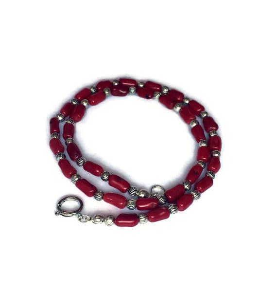 Red Coral necklace for men beaded jewelry choker necklaces