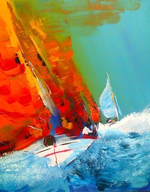 lame de surf - Peinture ©2009 par Jean-Louis Gaillard -                            Expressionnisme abstrait, marine-bateau-couleur-mer-expressionnisme-couteau