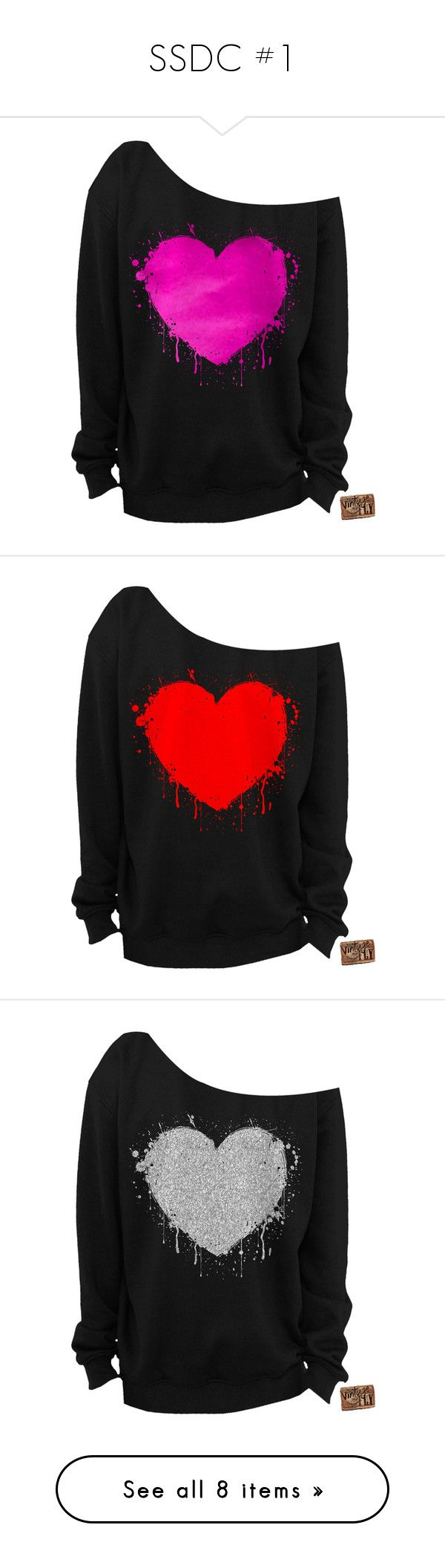 """SSDC #1"" by dark-emo-kitty ❤ liked on Polyvore featuring tops, hoodies, sweatshirts, shirts, sweaters, white, women's clothing, loose shirt, heart shirt and heart sweatshirt"
