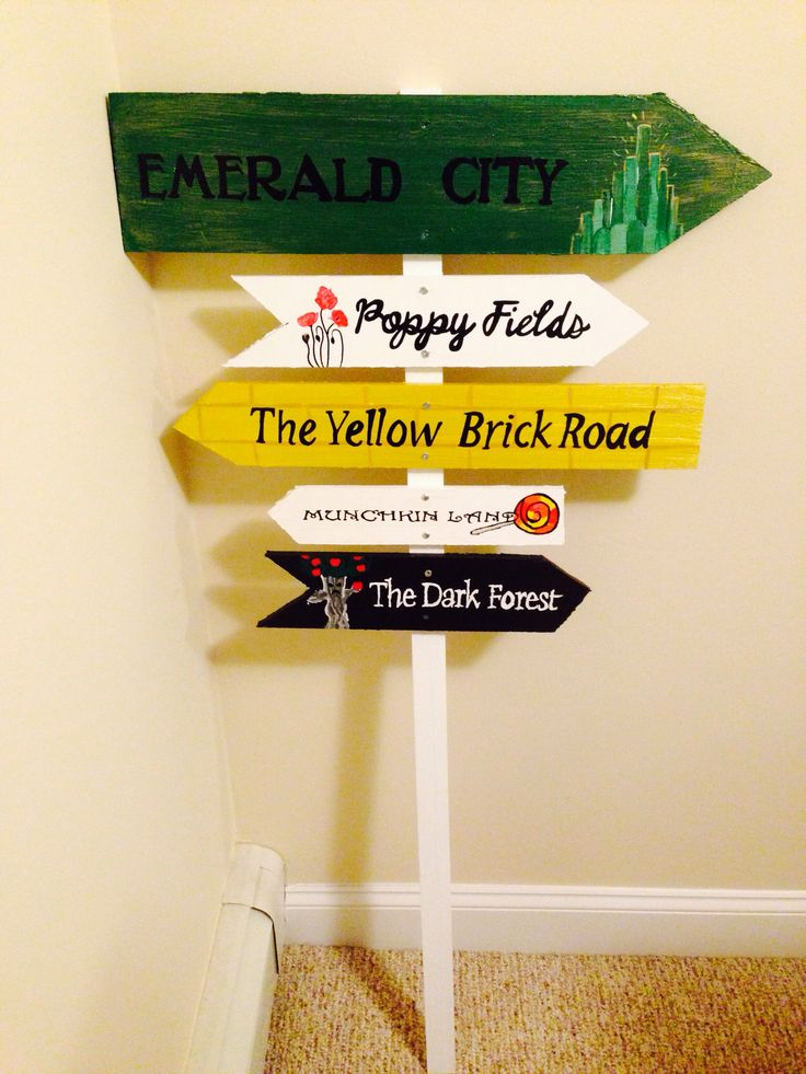Customized wizard of oz garden sign. Hand painted.