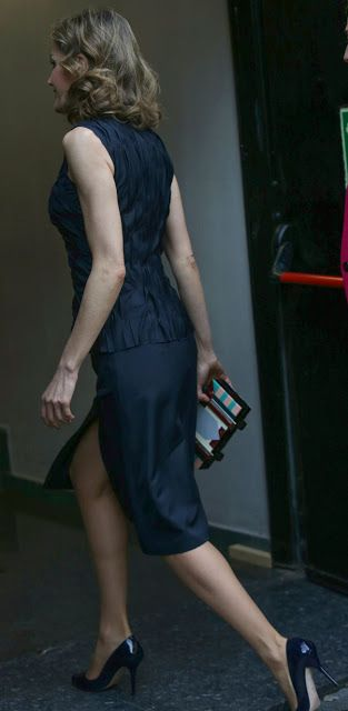 """Queen Letizia attended the Spanish finals of the FameLab International competition. Doña Letizia premiered a new petrol blue ensemble from Nina Ricci's pre-fall 2016 collection. She teamed a sleeveless crinkle top (US$1,790) with a matching slit-front a-line skirt, an art-deco inspired box clutch by Adolfo Dominguez, debuted a pair of earrings from Mango """"Blue Faceted Crystal Earring"""" (US$24.99), and  Magrit 'Mila' pumps in midnight blue patent leather. 'Famelab"""" May 12, 2016 in Madrid…"""