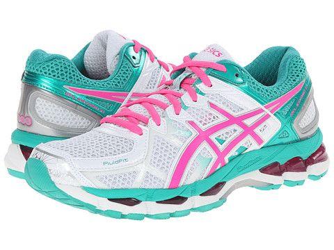 ASICS Gel-Kayano® 21 White/Hot Pink/Emerald - Zappos.com