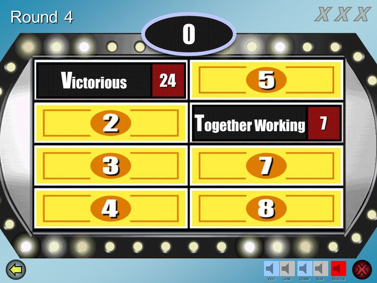 Family Feud - powerpoint template download;  Best one I could find - great sounds, easy to use and I plugged my laptop into the tv via HDMI and it worked perfectly!!
