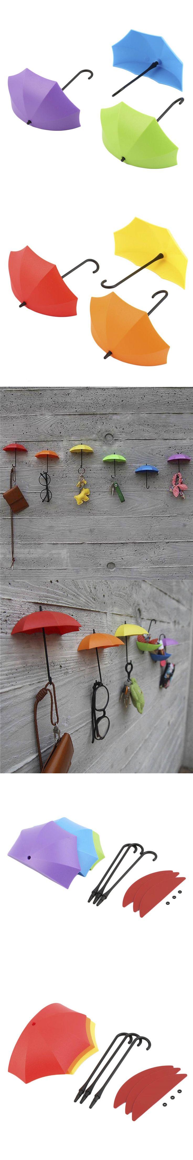 3pcs Pretty umbrella wall hooks Free nail glue wall mounted hooks Creative home decor Storage of small objects