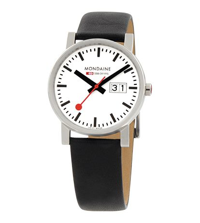 Mondaine Gents Watch White Dial and Polished Black Strap (Hans Hilfiker)