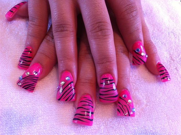 pink wide zebra nails by Enid - Nail Art Gallery nailartgallery.nailsmag.com by Nails Magazine www.nailsmag.com #nailart
