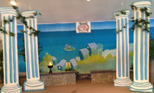 do-it-yourself columns, the benches, the scenery used with backdrop & flame for Athens VBS