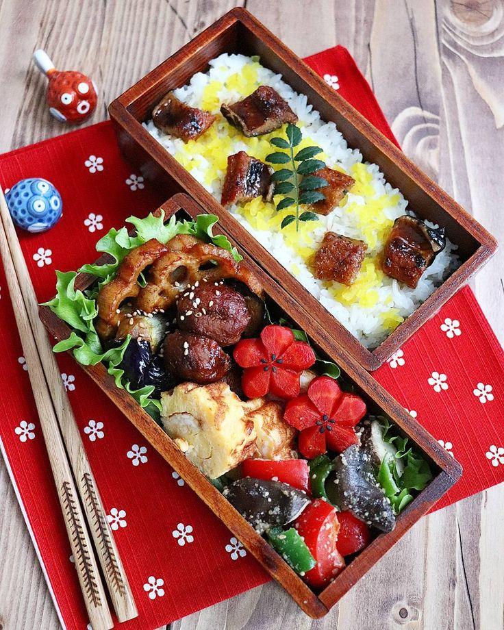 ☆(@donpintan):「 🍱今日のお弁当🍱. 🍱肉団子と茄子の中華炒め. 🍱穴子ご飯. 🍱白だしの卵焼き. 🍱エリンギとピーマンパプリカのごま和え. 🍱京人参の煮物 🍱母やす子の沢庵. おはようございます(ฅ´٥`๑)♡.… 」