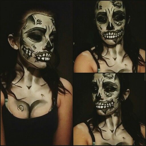 Greyscale popart zombie girl makeup