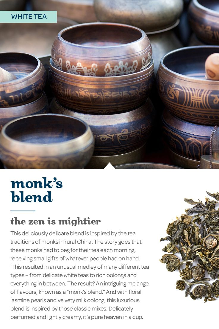 The zen is mightier. With jasmine pearls and milk oolong, this luxurious mix is inspired by the classic tea blends enjoyed by monks in rural China. Delicately perfumed and lightly creamy, it's pure heaven in a cup.