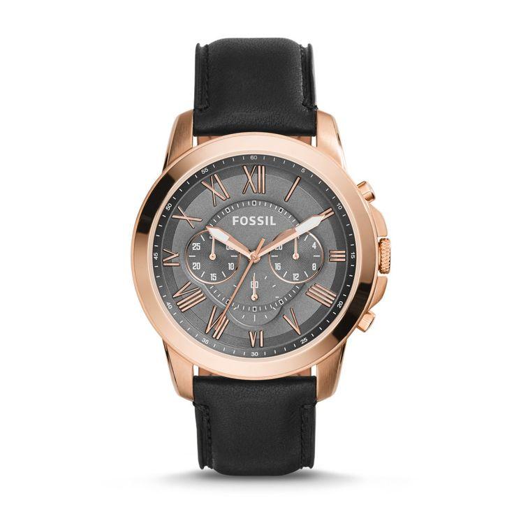 Ceas Fossil FS5085 Grant Chronograph Black Leather