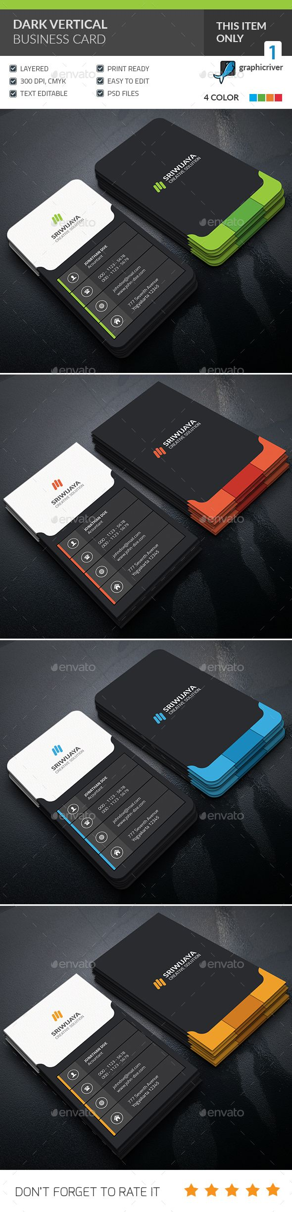Dark Vertical Business Card — Photoshop PSD #business #company • Available here → https://graphicriver.net/item/dark-vertical-business-card-/15996616?ref=pxcr