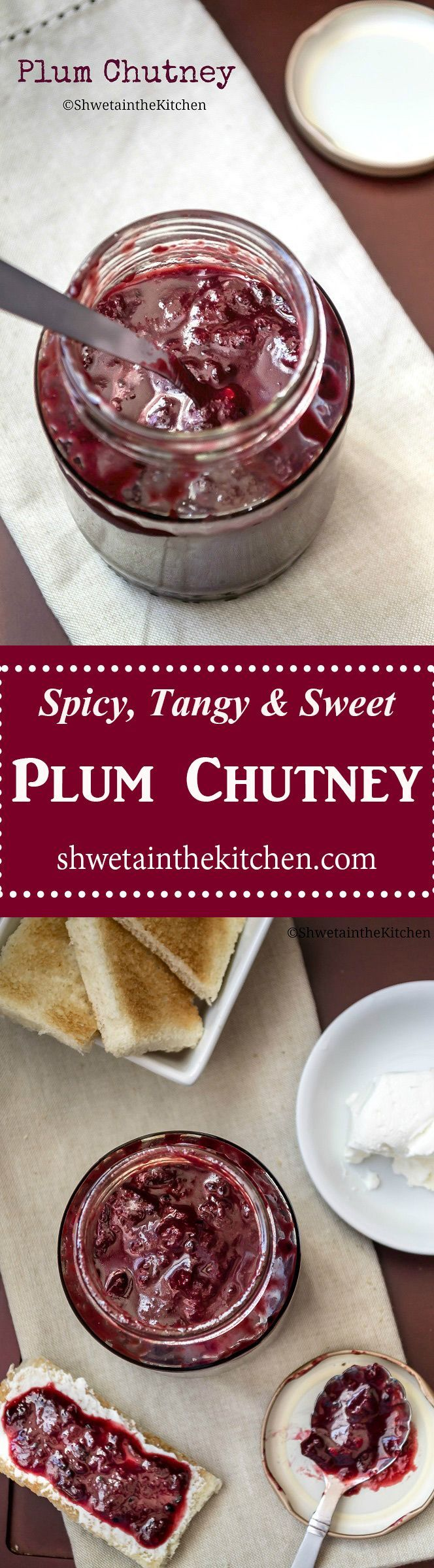 Plum Chutney is an Indian spiced vegan condiment that is spicy, tangy and sweet in taste. Its easy to make, can be stored in refrigerator for weeks and bonus requires no canning or preservatives. Use it as a condiment, spread, dip