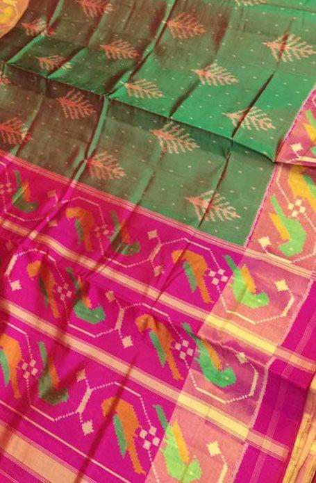 Green Handloom Patola Single Ikat Pure Silk Saree