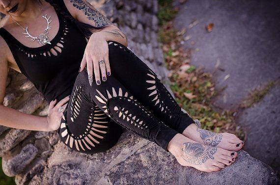 LeggingsYoga LeggingsSlit WeaveCut up leggingsSexy | Etsy