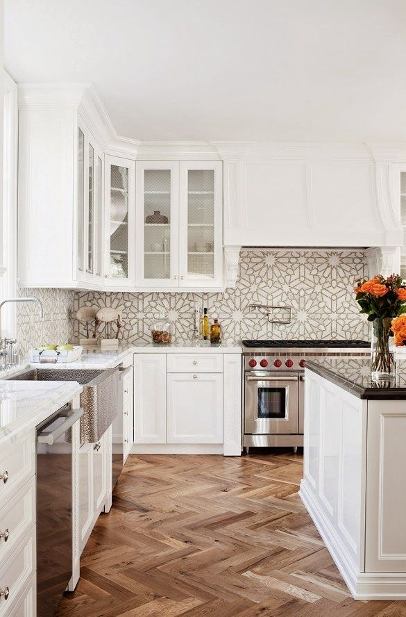 6th Street Design School. Gorgeous Kitchen. Love the white aesthetic warmed by the flooring.