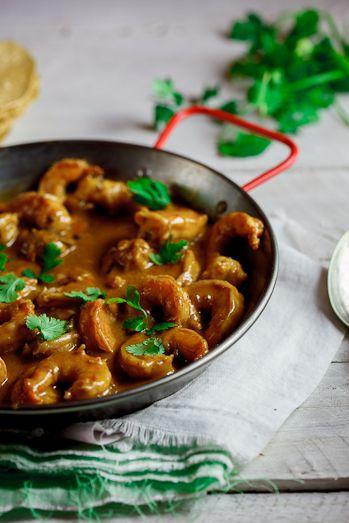 Coconut Prawn Curry *prawns, garlic , lemon, red onion, ginger, garam masala/curry