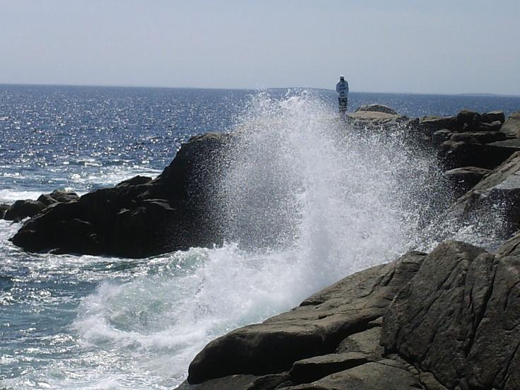 Waves crashing at Peggys Cove Nova Scotia