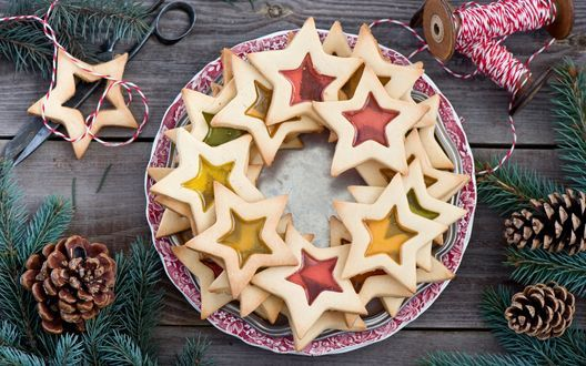 Обои Печенье в виде звездочек с желе внутри