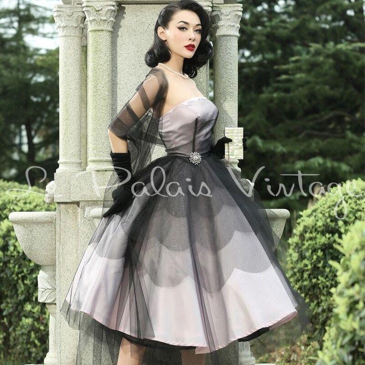 Le Palais Vintage Pink and Black Full Skirt Dress with Shawl - Designed by Winny #LePalaisVintage #FullSkirtDress