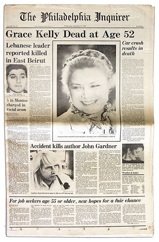 Princess Grace of Monaco died in a car accident on September 14, 1982. The front page story in the Philadelphia Inquirer, her hometown newspaper. [Grace Kelly 1929-1982]
