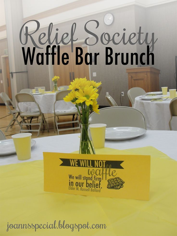 Relief Society Birthday Waffle Bar Brunch--with clever printables