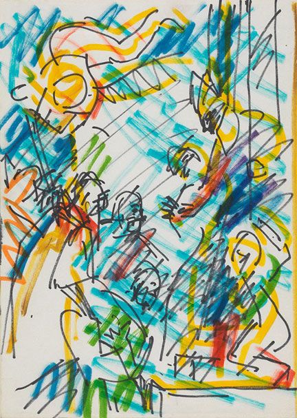 Frank Auerbach, Drawing after Veronese's 'The Consecration of St Nicholas', 1980