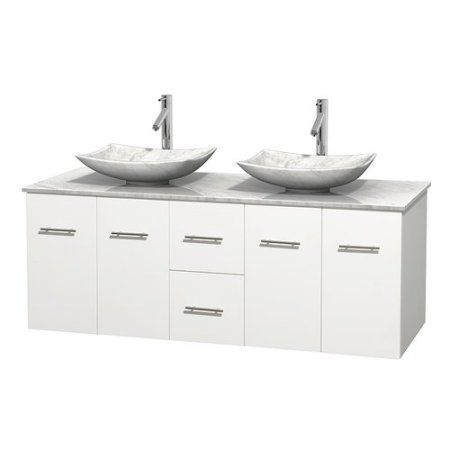 Wyndham Collection Centra 60 inch Double Bathroom Vanity in Matte White, White Carrera Marble Countertop, Pyra Bone Porcelain Sinks, and No Mirror