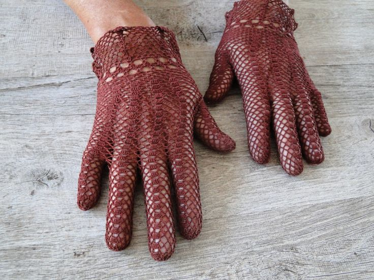 gants vintage crochet bordeaux/marron