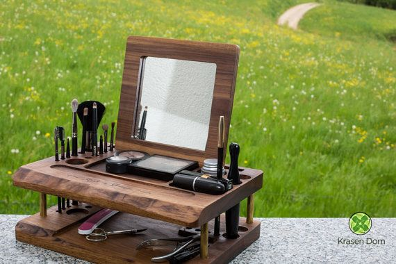 Wooden Makeup station beauty station makeup organizer by krasendom