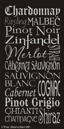 1272 - WINE-wine stencil list typography words wall merlot chardonnay subway cabernet