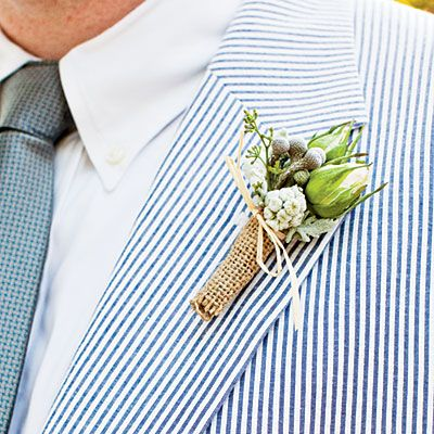 6 Burlap-Tied Boutonniere    Great for a chic, outdoor wedding. No tutorial. Ask your florist to do it for you. :-)