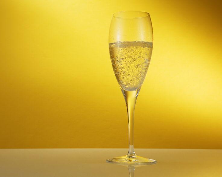 шампанское, бокал, фужер, фон, желтый