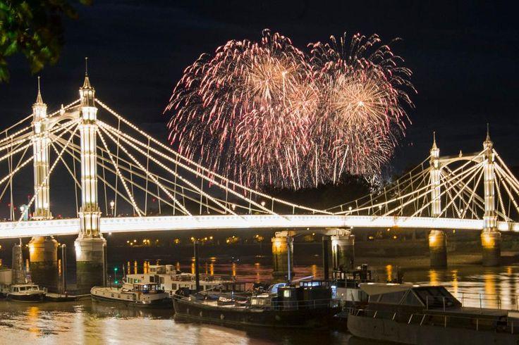 The Battersea Park fireworks seen over Albert Bridge