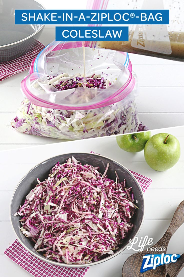 With Poppyseed dressing! This coleslaw recipe is great for Memorial Day, or any BBQ! To make the Poppyseed dressing, just combine apple cider vinegar, oil, honey, poppy seeds, mustard, salt, and pepper in a Ziploc® bag and shake! Then add the cabbage and apples and shake again! So yummy and easy—plus no mess!