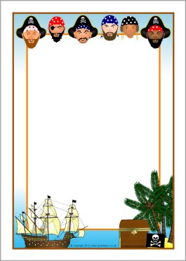 Pirates A4 page borders (SB8612) - SparkleBox