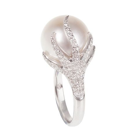 Wonderlust ring by Daniella Kronfle | pearl, diamonds, white gold