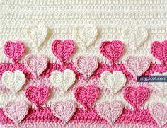 Heart crochet stitch. Free pattern.