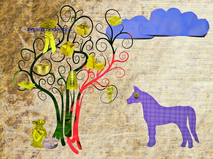 Horse Magic Present Tree Childrens Decor. €12,00, via Etsy.
